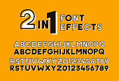 2 in 1 font effects. Set of two sans serif alphabet graphic styles. Outline and bold shadow. Vector design screen printing poster vintage retro style. Great for headlines, titles, display.