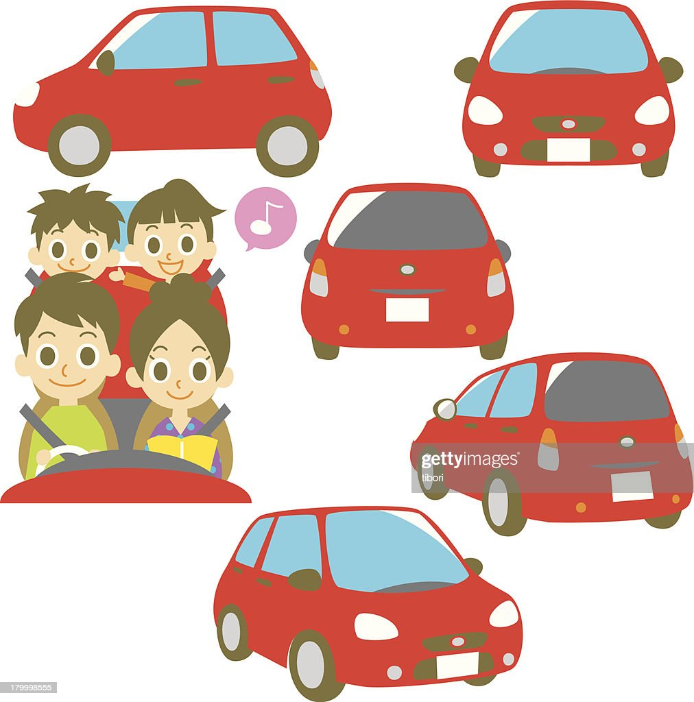 FAMILY in a red car