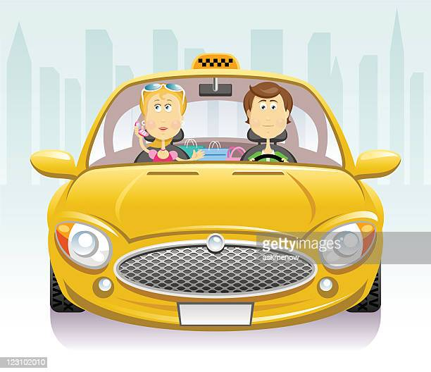 in a taxi - yellow taxi stock illustrations, clip art, cartoons, & icons