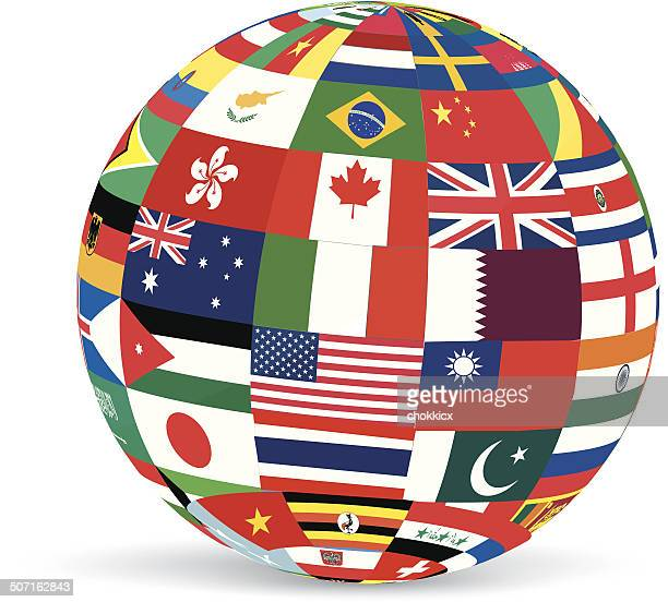 3D GLOBE in Collage of Flags