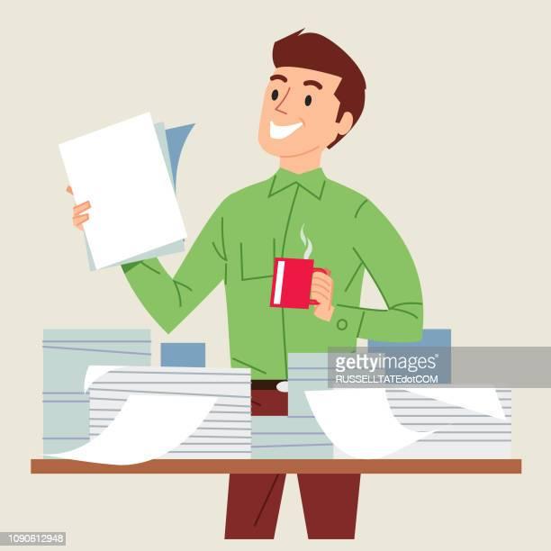 ilustrações, clipart, desenhos animados e ícones de no controle da papelada - preencher um formulário