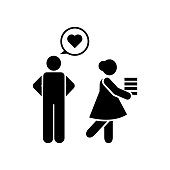 In love, girl, man, school icon. Element of education pictogram icon. Premium quality graphic design icon. Signs and symbols collection icon for websites, web design
