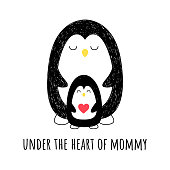 In my mother's heart. Vector illustration. Penguin mom and her baby. Nice background. Cartoon style