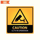 CCTV in Operation text and sign .