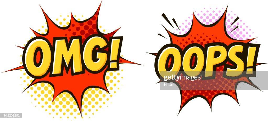 OMG, OOPS in pop art retro comic style. Cartoon slang vector illustration