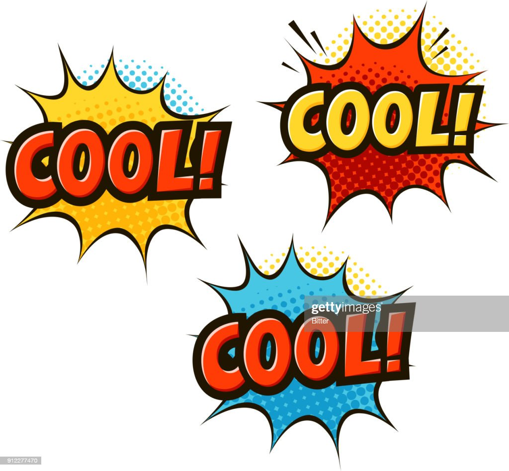 COOL in pop art retro comic style. Cartoon slang vector illustration