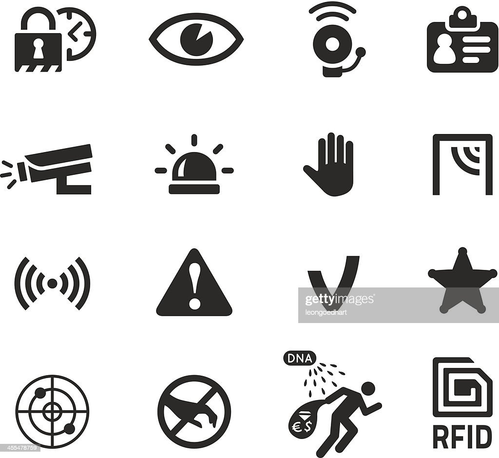 in shop theft prevention and security icons