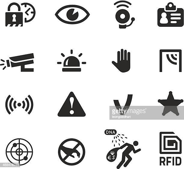 in shop theft prevention and security icons - alarm stock illustrations