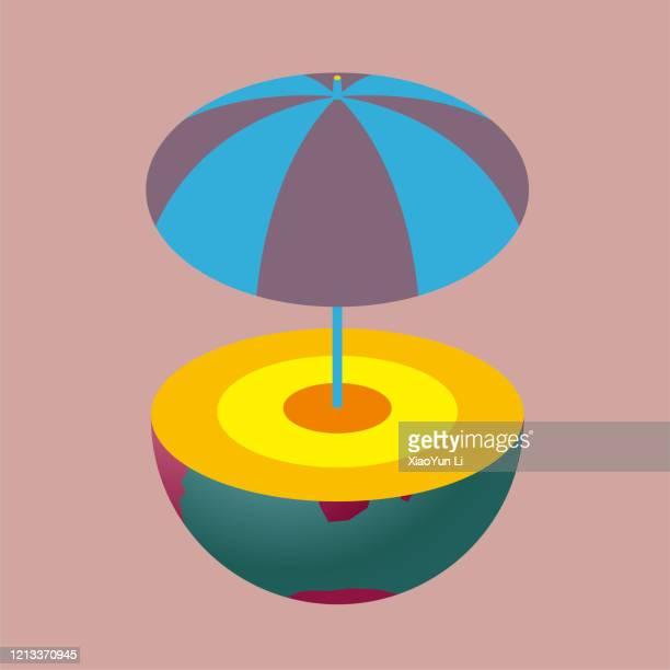 ilustraciones, imágenes clip art, dibujos animados e iconos de stock de en la sección transversal del hemisferio sur, se puede ver el manto y el núcleo, abrir un paraguas sobre él. - corteza terrestre