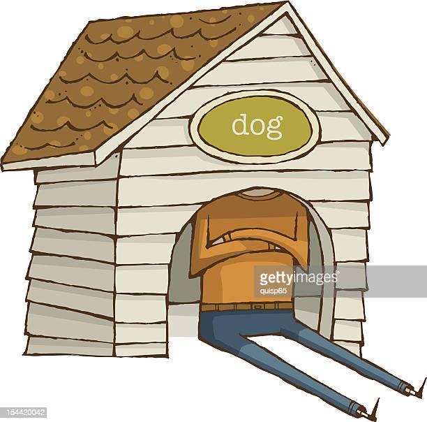 ilustraciones, imágenes clip art, dibujos animados e iconos de stock de in the dog house-refrán en inglés - caseta de perro