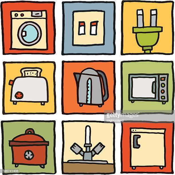 In the kitchen block icon set