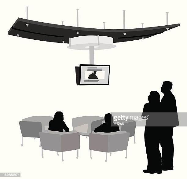 tv in the lobby vector silhouette - entrance hall stock illustrations, clip art, cartoons, & icons