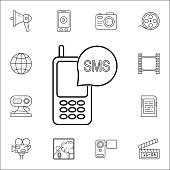 SMS in the phoneicon. Media icons universal set for web and mobile