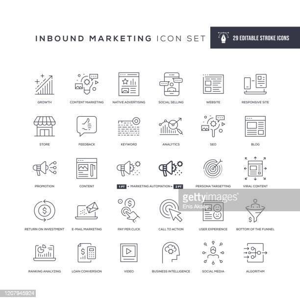 inbound marketing editable stroke line icons - selling stock illustrations