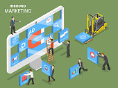 Inbound marketing flat isometric vector concept.
