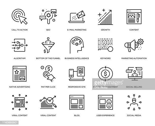 inbound marketing icon set - funnel stock illustrations