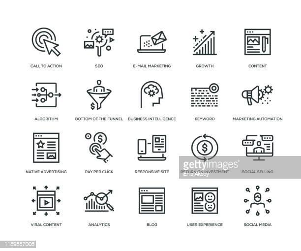 inbound marketing icons - line series - visit stock illustrations