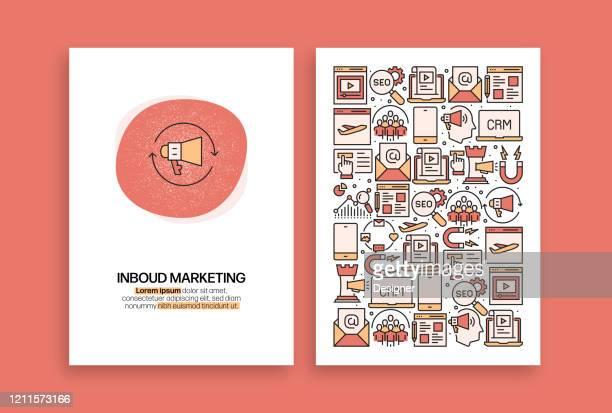 inbound marketing related design. moderne vektorvorlagen für broschüre, cover, flyer und geschäftsbericht. - loyalität stock-grafiken, -clipart, -cartoons und -symbole