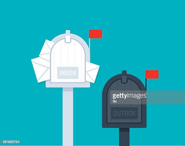 inbox outbox mailboxes - e mail inbox stock illustrations