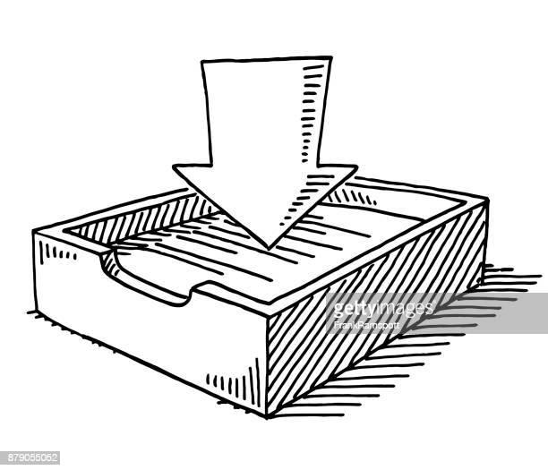 inbox symbol drawing - inbox filing tray stock illustrations