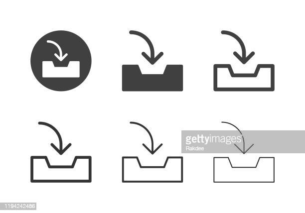 inbox tray icons - multi series - outbox filing tray stock illustrations