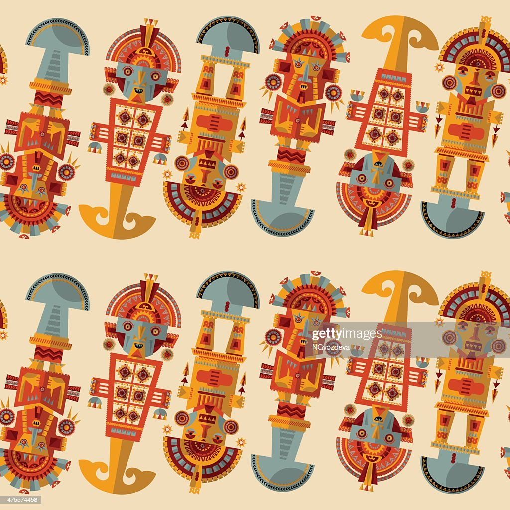 Inca ceremonial knives. Tumi.  Seamless background pattern.