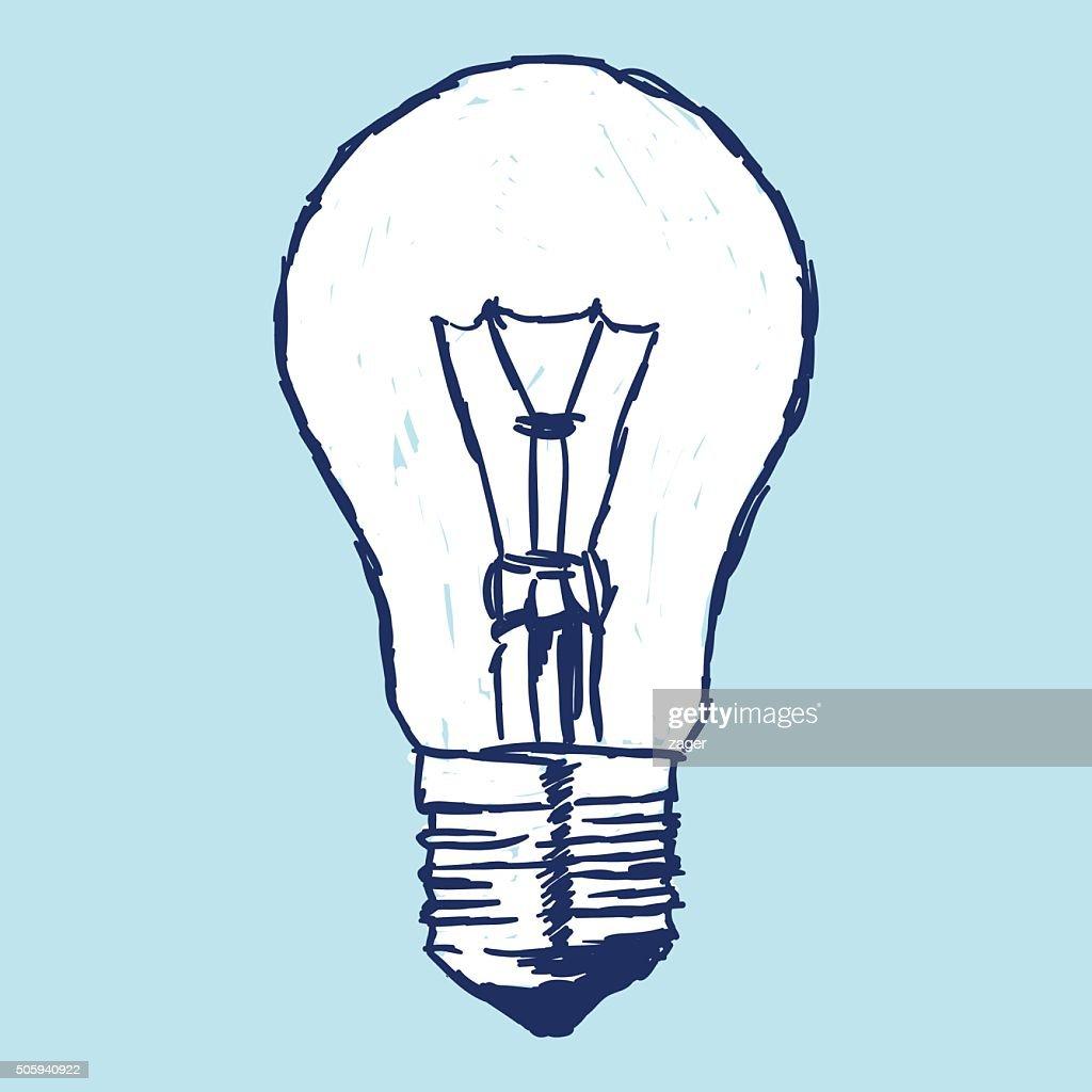 Incandescent Bulb Over Blue