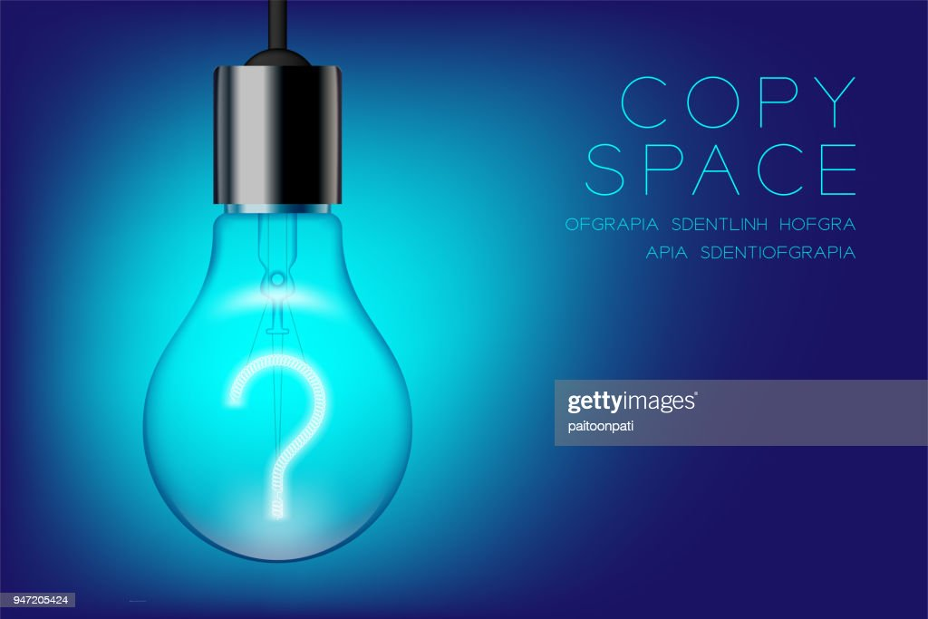 Incandescent light bulb switch on set Question mark symbol concept design illustration isolated glow in blue gradient background