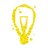 Incandescent light bulb symbol Crystal diamond 3D virtual set illustration Gemstone concept design yellow color, isolated on white background, vector eps 10