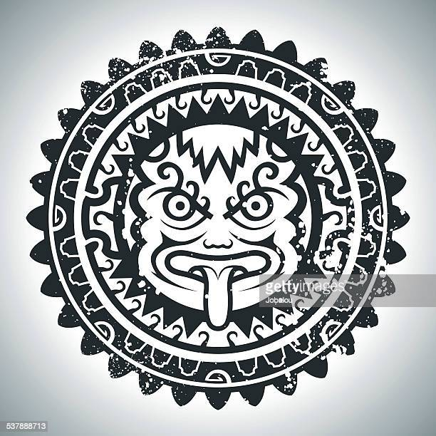 inca's mask - relief carving stock illustrations