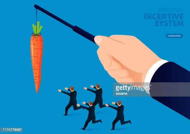 ilustrações de stock, clip art, desenhos animados e ícones de incentive system, businessman chasing carrots in the hands of giants - cenoura