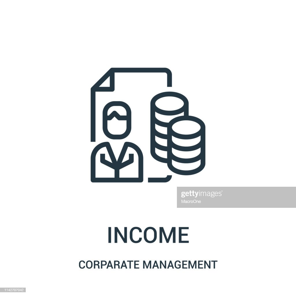 income icon vector from corparate management collection. Thin line income outline icon vector illustration. Linear symbol for use on web and mobile apps, logo, print media.