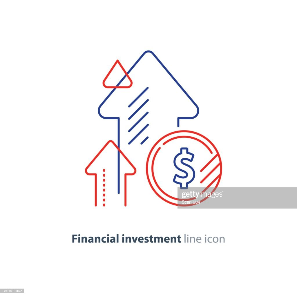 Income increase, lucrative investment, financial growth, fund rising, line icon