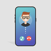 Incoming call. Accept of decline. Mobile phone screen. Gradient background. Millennial lifestyle. Flat editable vector illustration, clip art
