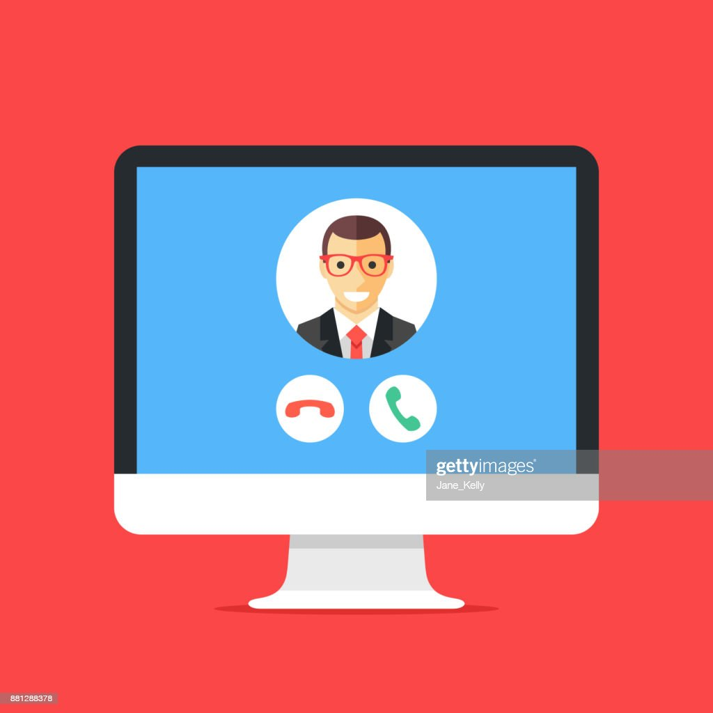 Incoming call on computer screen. Calling service. Desktop computer and telecommunication software. VoIP, IP telephony. Modern flat design vector illustration