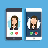 Incoming call on mobile phone. Businesswoman or manager calls on the smartphone. Accept or reject an incoming call. Vector flat illustration.