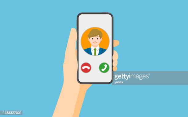 incoming call on smartphone screen - inbox filing tray stock illustrations