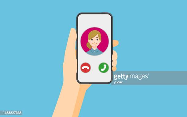 incoming call on smartphone screen - projection screen stock illustrations