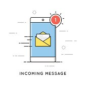 Incoming email notification, new message. Flat line art style concept. Vector banner, icon, illustration.