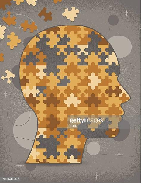 stockillustraties, clipart, cartoons en iconen met incomplete puzzle head (vintage) - ziekte van alzheimer