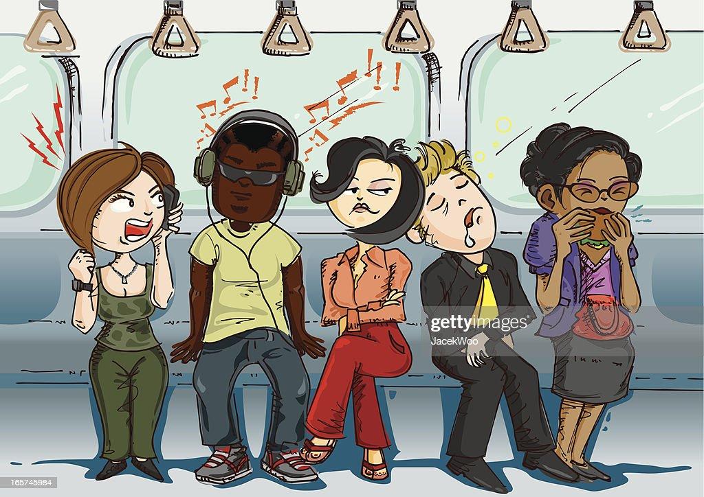 Inconsiderate passengers : stock illustration
