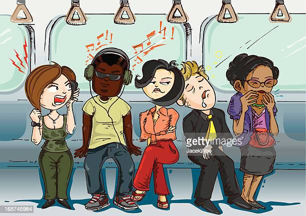 inconsiderate passengers - subway train stock illustrations, clip art, cartoons, & icons
