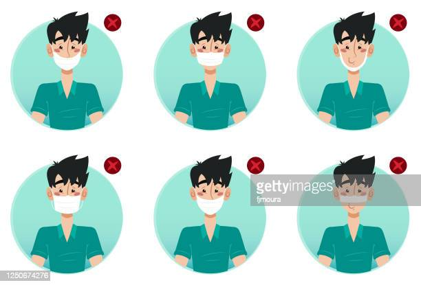 incorrect use of the protective mask correctly against the coronavirus - mascara stock illustrations