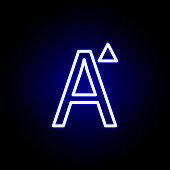 increase font size, word A icon in neon style. Can be used for web, logo, mobile app, UI, UX