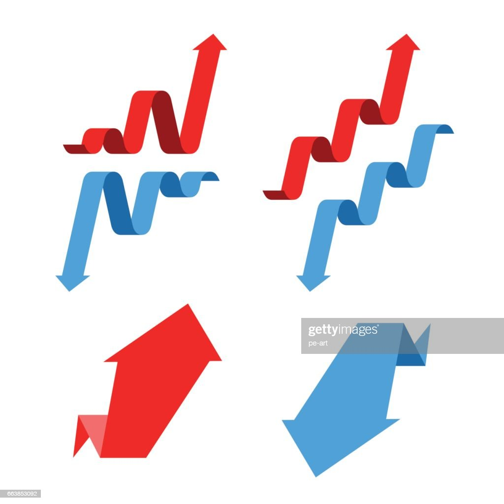Increase, recession, growth, decline, success business arrows. Flat vector illustration.