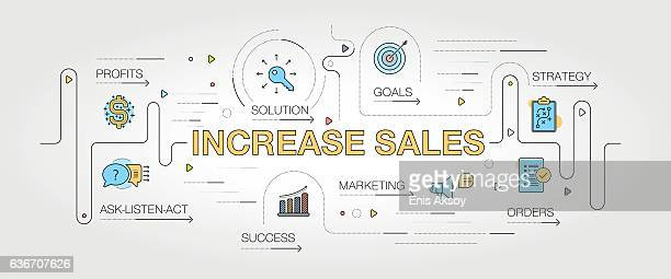 increase sales banner and icons - sales occupation stock illustrations