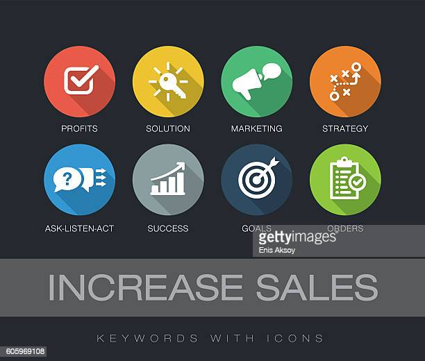 increase sales keywords with icons - sales occupation stock illustrations