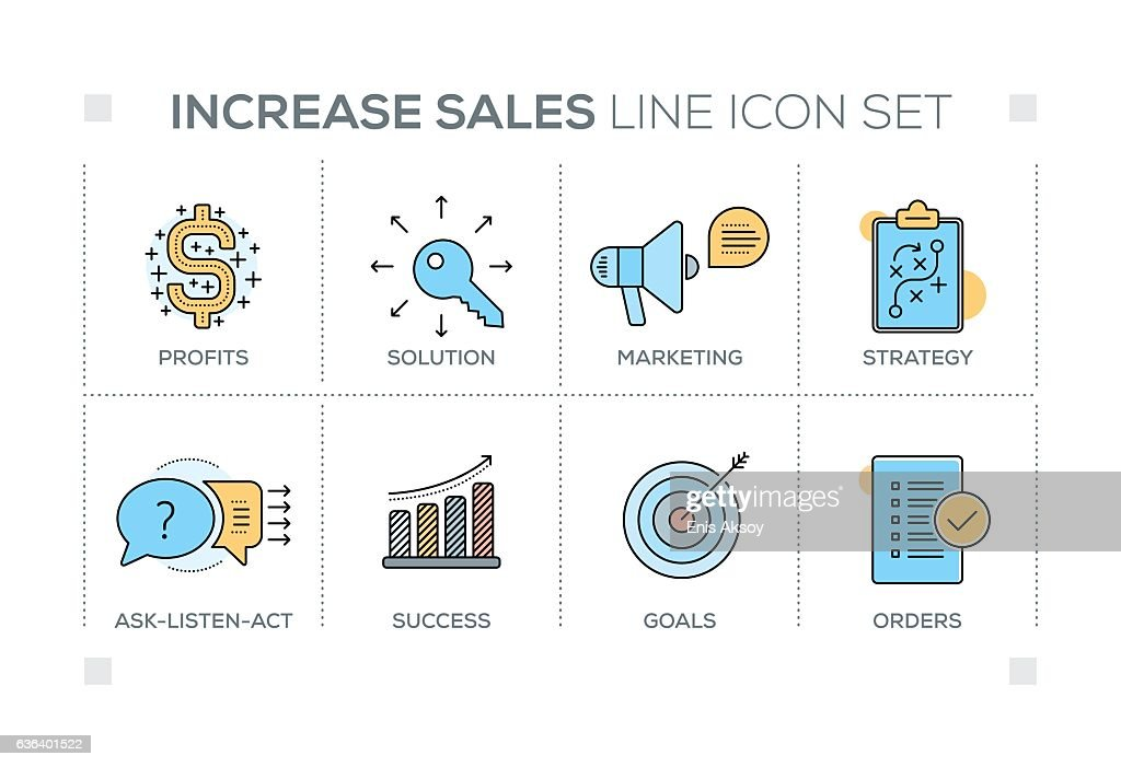 Increase Sales keywords with line icons