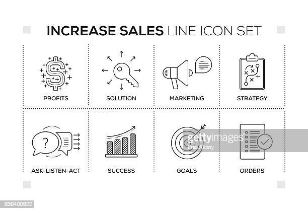 Increase Sales keywords with monochrome line icons