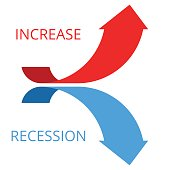 Increasing and recession arrows concept flat illustration.